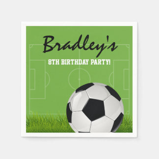 Kids Soccer Football Birthday Party Paper Napkin
