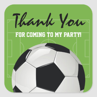 Kids Soccer Football Birthday Party Square Sticker