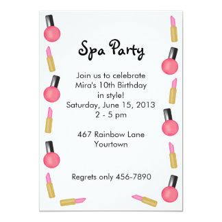 "Kids Spa Party Invitations with Cosmetics 5"" X 7"" Invitation Card"