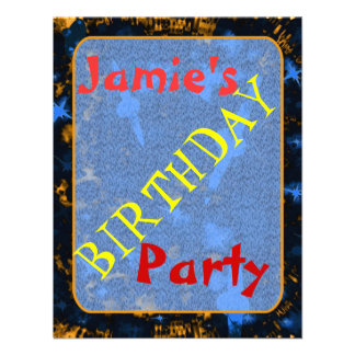 Kids sparkly party galaxy personalised invite