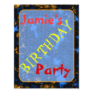 Kids sparkly party galaxy 11 cm x 14 cm invitation card