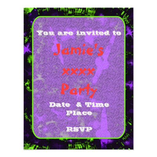 Kids sparkly party galaxy space custom announcements