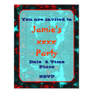 Kids sparkly party galaxy space 11 cm x 14 cm invitation card