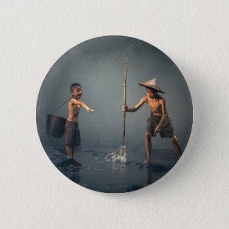 Kids Spear Fishng 6 Cm Round Badge