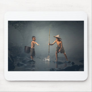 Kids Spear Fishng Mouse Pad