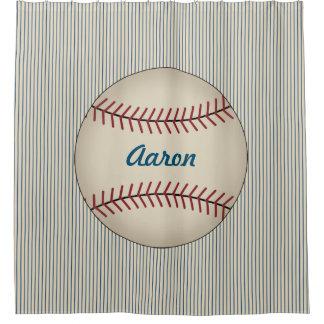 Kids Sports Boys Baseball Bathroom Shower Curtain