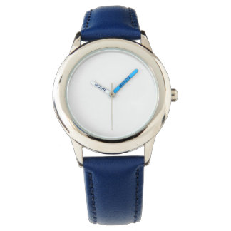 Kid's Stainless Steel Blue Leather Strap Watch
