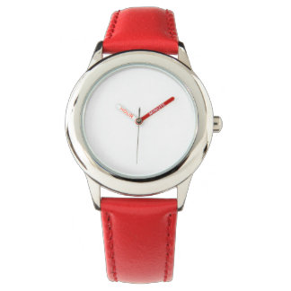 Kid's Stainless Steel Red Leather Strap Watch