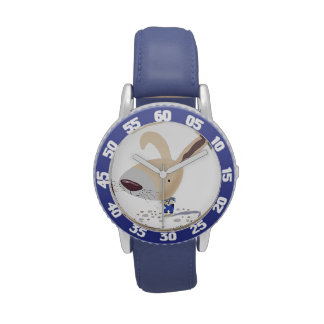 Kids Stainless Steel Watch Bunny In Blue Pants