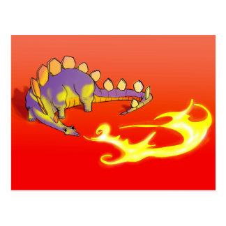 Kids Stegosaurus Breathing Fire by Alberto Rios Postcard
