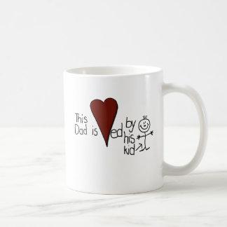 Kids Stick Figure Hearts Dad Basic White Mug