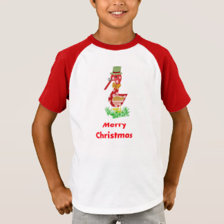 Kids' Striped Red/White, Goose Cartoon Christmas T-Shirt