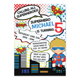 Kids Superhero Birthday Party Invitation Boy Hero