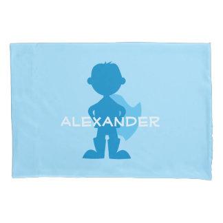Kids Superhero Boy Silhouette Personalized Blue Pillowcase