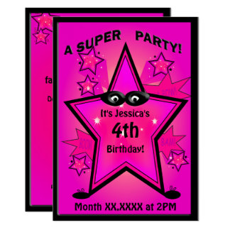 Kids Superhero Star Girl Birthday Party 13 Cm X 18 Cm Invitation Card