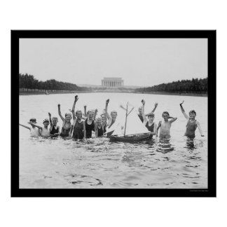 Kids Swimming at the Lincoln Memorial 1926 Poster