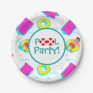 Kids Swimming With Floats Pool Party 7 Inch Paper Plate