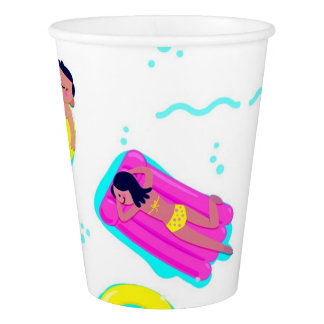 Kids Swimming With Floats Pool Party Paper Cup