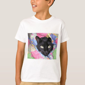 Kid's T-Shirt: Funny Cat wrapped in Blankets T-Shirt