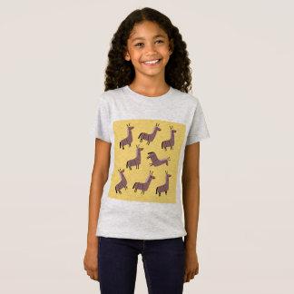 Kids t-shirt lamas  yellow