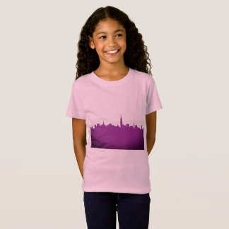 Kids t-shirt pink with townie silhouette