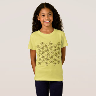 Kids t-shirt yellow with Cute  flowers