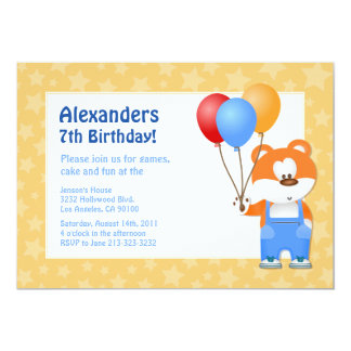 Kids Teddy Bear Birthday Party Card