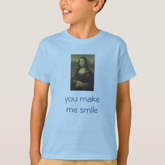 """Kid's Tee  Mona Lisa """"you make me smile"""""""