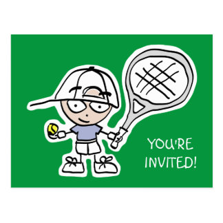 Kids tennis Birthday party invitation postcards