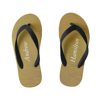 Kids Textured Gold Flip Flops with your Name