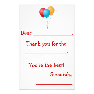 Kids Thank You Notes (Guided) Stationery
