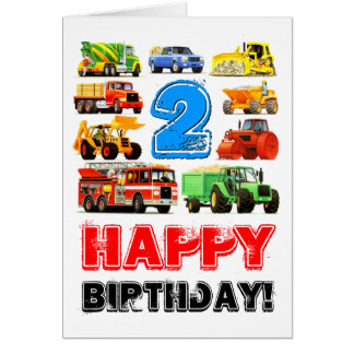 Kid's Toy Truck 2nd Birthday Greeting Card