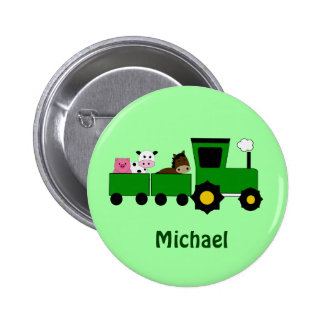Kids Tractor  Birthday Favor Button