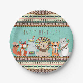 Kids Tribal Birthday Party Paper Plate
