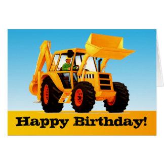 Kids Trucks - Custom Yellow Digger Happy Birthday Greeting Card