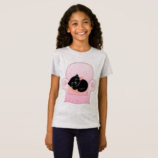 KIDS TSHIRT GREY WITH BLACK CAT