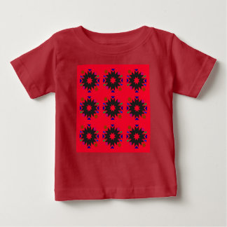 Kids tshirt red with Ornaments blackred
