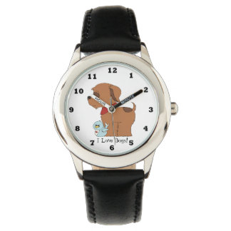 Kids Unisex  I love dogs watch