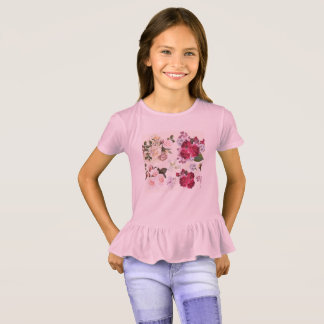 Kids vintage Girls t-shirt with flowers
