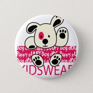 kids wear, baby dog 6 cm round badge