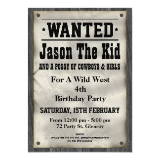 Kids Wild West Wanted Poster Birthday Invitation