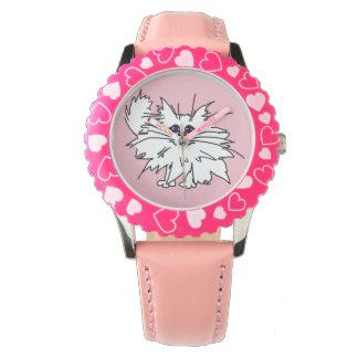 Kids Witty Kitty Pink Hearts Watch