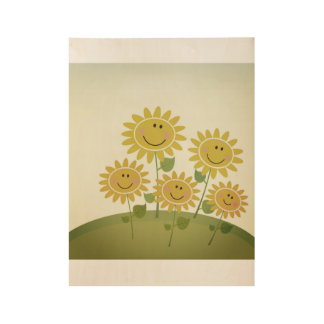 Kids wooden poster : yellow happy flowers