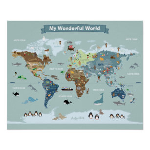 Kids world map posters photo prints zazzle au kids world map with animals and landmarks poster gumiabroncs Image collections