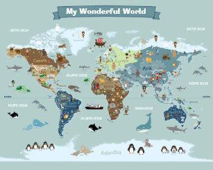 Kid World Map Poster.Kids World Map Posters Photo Prints Zazzle Au