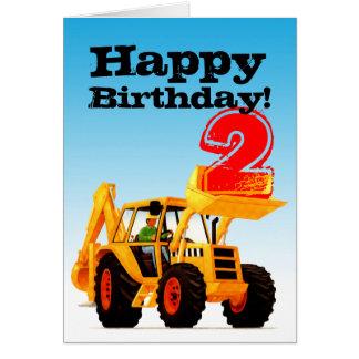 Kids Yellow Digger 2nd Birthday Greeting Card