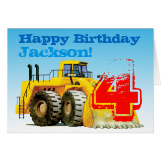 Kid's Yellow Digger 4th Birthday Greeting Card