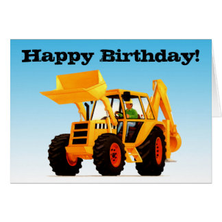 Kid's Yellow Digger Birthday Greeting Card