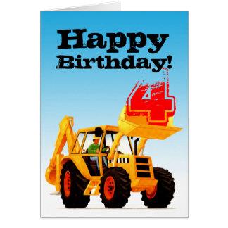 Kid's Yellow Digger Custom 4th Birthday Greeting Card