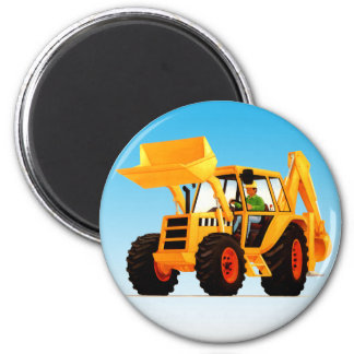 Kid's Yellow Digger 6 Cm Round Magnet